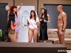 The bride-to-be and her lady friends fuck a guy at a hen party.