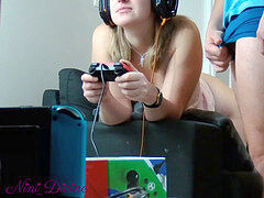 A teenage gamer damsel plays, sucks a cock and gets ravaged from behind!
