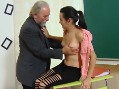 Skinny student Lora lets her teacher lick and fuck her for a better grade