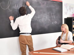 Kinky teacher India Summers takes care of her student's sizable wood