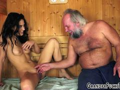 Teen tongued by gramps