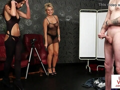 Lingeried female dominance couple taunting slave in Jerk Off Instructions
