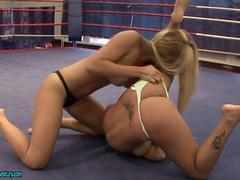 Blonde Babe Strip Each Other In A Fight