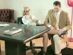 Kathia Nobili makes her employee polish her high heels & fuck her pussy