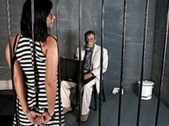 Busty young slut Renata Black fucks with an old man in the prison