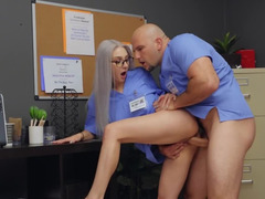 Teen nurse loves being fucked deep by hung colleague in blue robe