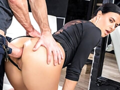 Sexy brunette gets her holes destroyed