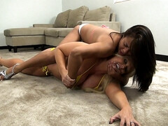 Brutal wrestling fight with blonde and brunette moms - lesbian femdom fetish