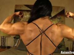 Aziani Iron Angela Salvagno female bodybuilder with big string up button
